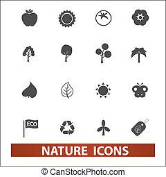 set, vettore, natura, icone