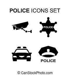set., vettore, polizia, icone