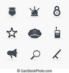 set., vettore, polizia, illustration., icone
