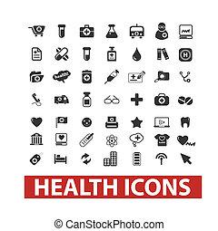 set, vettore, salute, icone