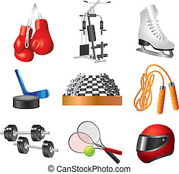 set, vettore, sport, icone