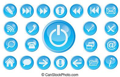 set, vettore, web., icona