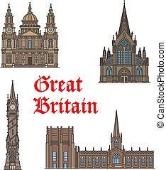 set, viaggiare, britannico, architettura, punto di riferimento, icona