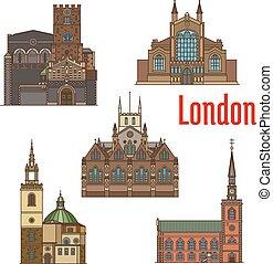 set, viaggiare, britannico, londra, chiesa, punto di riferimento, icona