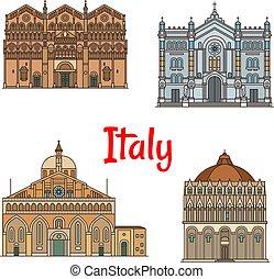 set, viaggiare, disegno, magro, punto di riferimento, linea, icona, italiano
