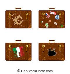 set, viaggiare, esso, illustrazione, borsa, storico, monumento
