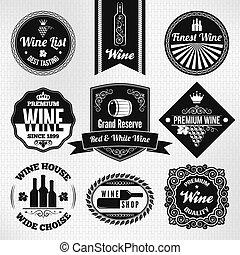set, vino, etichette