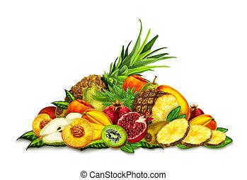 set, vita, tropicale, ancora, frutte