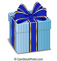 seta blu, regalo, vettore, arco, scatola