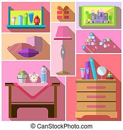 sets., camera letto, ragazze, mobilia
