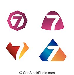 sette, 7, simbolo numero, icona, logotipo