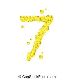 sette, concetto, numero, giallo, progetto serie, alfabeto, isolato, virtuale, fondo, bianco, gemstone, 3d, diamante, 7, colorare, illustrazione, lettera, 10, eps, cristallo, vettore, o