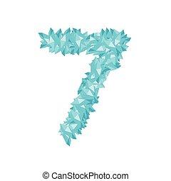 sette, concetto, numero, progetto serie, blu, alfabeto, isolato, virtuale, fondo, bianco, gemstone, 3d, diamante, 7, colorare, illustrazione, lettera, 10, eps, cristallo, vettore, o