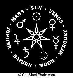 sette, stella, astrology., pianeti, magicians., septener.