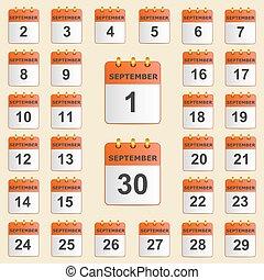 settembre, calendario, set, icone