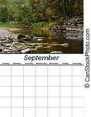 settembre, calendario, vuoto