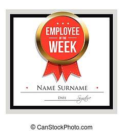 settimana, impiegato, sagoma, certificato
