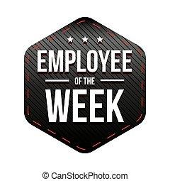 settimana, impiegato, vettore, distintivo