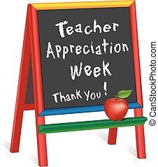 settimana, insegnante, cavalletto, apprezzamento