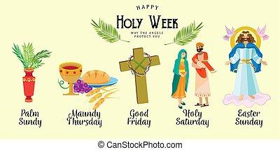settimana, spine, palma, prima, pasqua, croce, gesù, corona, cristianesimo, vettore, dio, suo, santo, domenica, ultimo, illustrazione, prestato, buono, passione, crocifissione, o, cena, stazioni, morte, set, venerdì