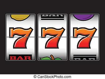 sevens, macchina, slot, fortunato, triplo