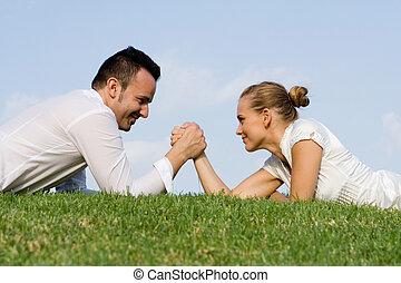 sexes., battaglia, wrestling, braccio, affari