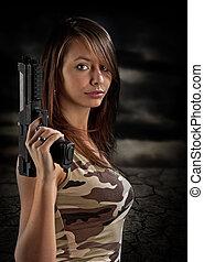 sexy, donna, fucile, presa a terra