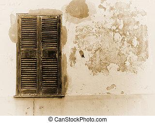 sfaldatura, otturatori, livelli, immagine, sepia, parete, sbucciatura, chiuso, vecchio, sbiadito, casa, cemento, dipinto, legno, vernice, ripristinato, finestra, fesso