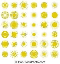 sfavillante, icons., sole, stella, starburst, luce gialla, explosion., scintille, ardendo