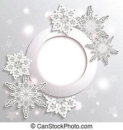 sfavillante, stella, natale, fondo, fiocco di neve