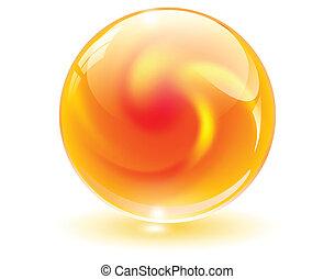 sfera, 3d, cristallo, vector., vetro