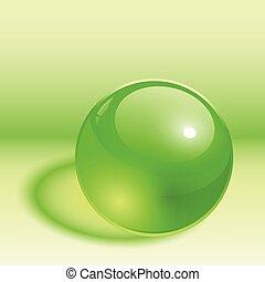 sfera, 3d, verde
