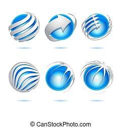 sfera, astratto, vettore, set, 3d