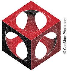 sfera, cubo, sottrazione