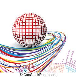 sfera, disegno, linea, 3d, onda