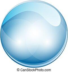 sfera, illustrazione, cristallo, vettore, ball., 3d