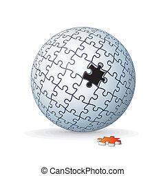 sfera, puzzle, jigsaw, globo