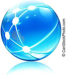 sfera, rete, icona