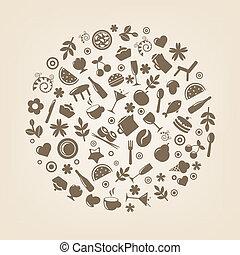 sfera, ristorante, forma, icone