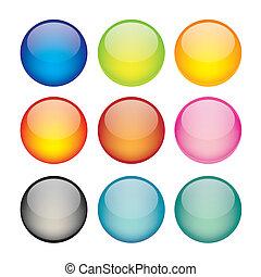 sfera, set, rete, icone