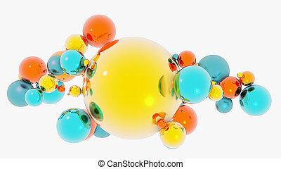 sfere, composizione, vetro, variopinto