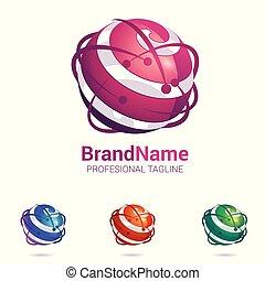 sferico, astratto, superficie, stilizzato, logotipo, 3d
