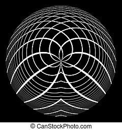 sferico, disegno astratto, cerchio, element.