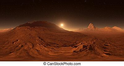 sferico, panorama, panorama, proiezione, map., montagne, equirectangular, ambiente, mars., tramonto, valley., marte, vista, 360, hdri