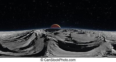 sferico, pianeta, 360°, panorama., panorama, proiezione, phobos, map., illustrazione, equirectangular, ambiente, fondo, marte, hdri, rosso, 3d
