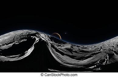 sferico, pianeta, panorama, proiezione, phobos, map., equirectangular, ambiente, fondo, marte, rosso, hdri