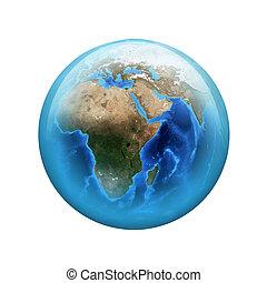 sferico, web, button., elemento, lucido, earth.
