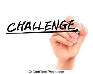 sfida, 3d, parola, scritto, mano