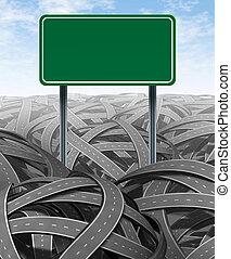 sfide, ostacoli, vuoto, segno strada principale
