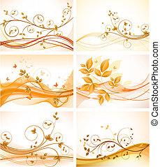 sfondi, set, floreale, astratto
